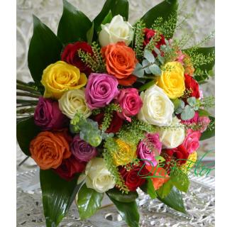 Buchet 29 trandafiri multicolori