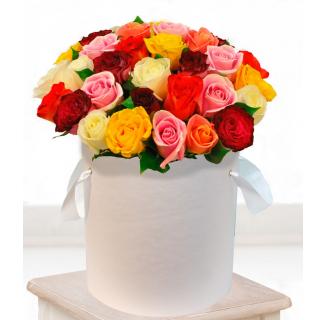 Cutie cu 35 trandafiri multicolori