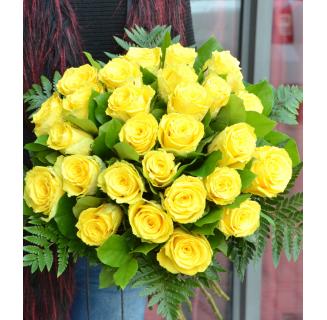 Buchet 27 trandafiri galbeni