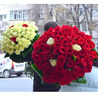 Buchet cu 63 trandafiri albi