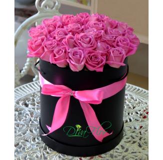 Cutie cu 29 trandafiri roz