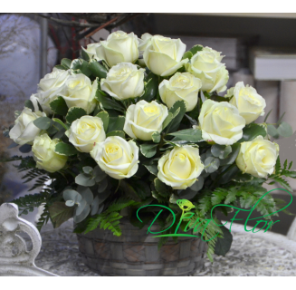 Cos 21 trandafiri albi