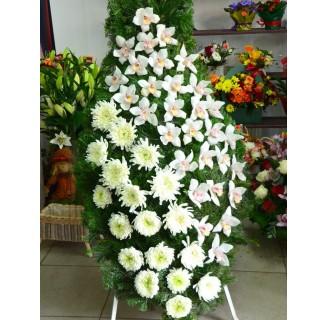 Coroana cu crizanteme si orhidee