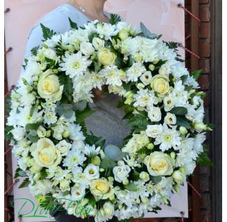 Coronita funerara cu trandafiri si crizanteme