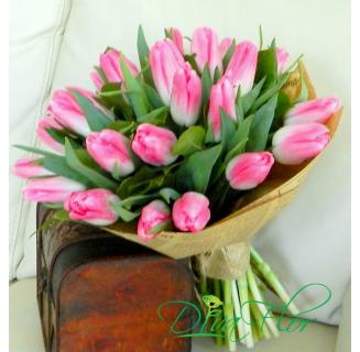 Buchet 21 lalele roz
