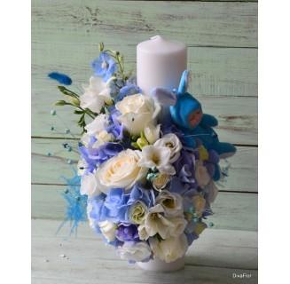 Luamanare botez cu hortensie bleu si frezii