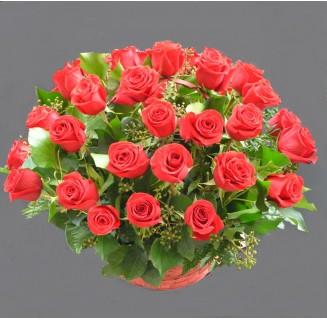 Cos 29 trandafiri rosii