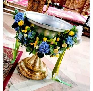 Cristelnita galben-bleu cu hortensii